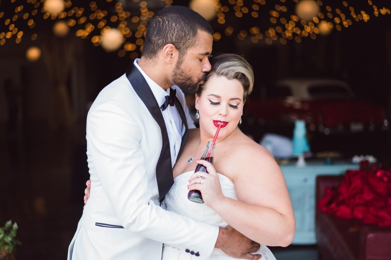 Red lips, red cars, & '50s Style at this retro wedding inspiration