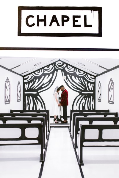 The venue at this black & white pop art-themed wedding inspiration is SO FUN