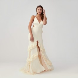 fame and partners cutout mermaid dress on offbeat bride