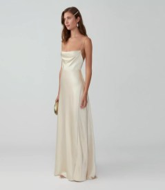 fame and partners strappy draped wedding gown on offbeat bride