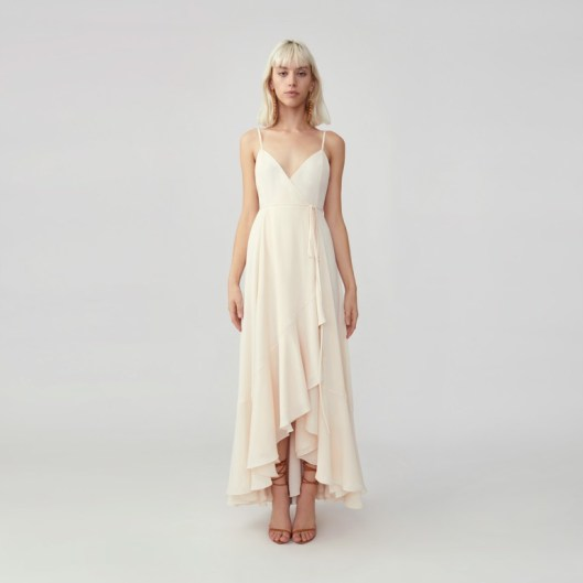 fame and partners strappy wrap dress on offbeat bride