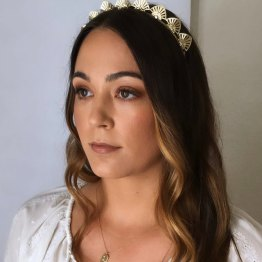 silver art deco headpiece on offbeat bride