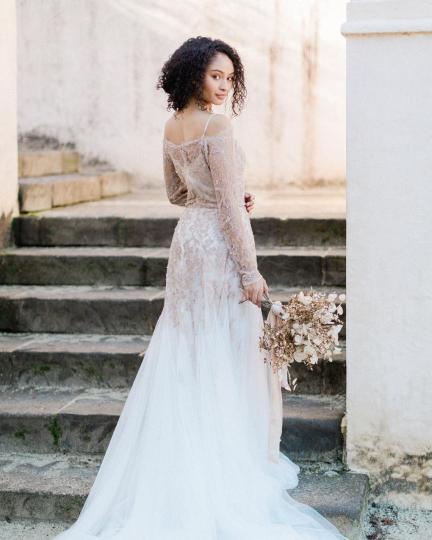 MywonyBridal lace and tulle wedding dress on offbeat bride