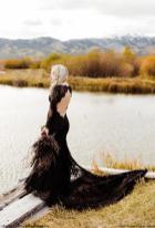 PolinaIvanova black lace wedding dress on offbeat bride