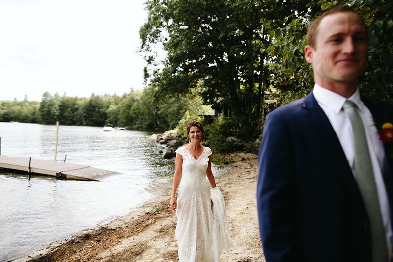 A Maine camp wedding photobombed by the couple's doggo