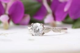 vinnyandcharles one carat moissanite leaf engagement ring