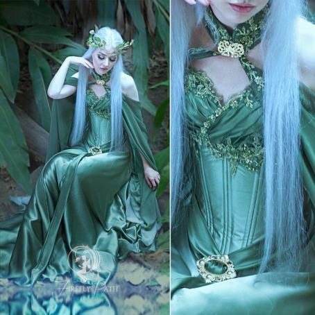 firefly path green elven bridal gown and cape