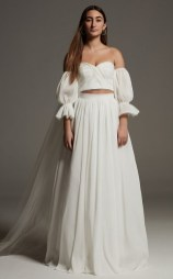 white by vera wang two piece pleated wedding set from davids bridal on offbeat bride
