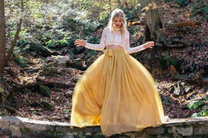 Florence Skirt - 10 Train - Chiffon Skirt - Wedding Skirt - Wedding Separates - Two Piece Wedding Dress - Lace Wedding Dress by sweetcarolinstyles on offbeat bride