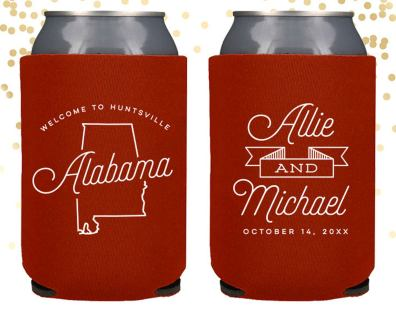 Alabama peresonalized wedding coozies