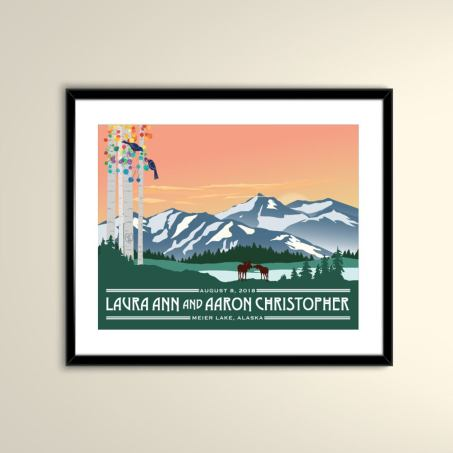 Alaska Mountain at Sunset with Colorful Aspens Vintage Travel Poster