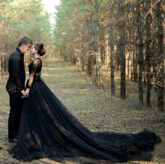 black wedding dress by julia miren on offbeat bride