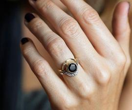 eclipse diamond ring black diamond engagement ring on offbeat bride