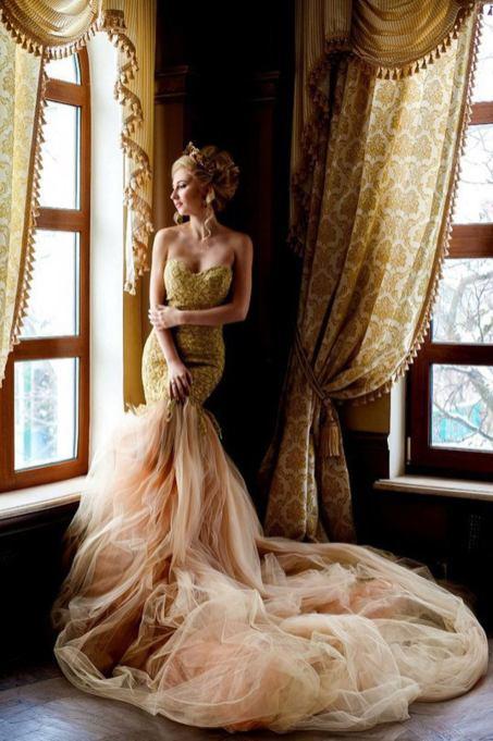 golden mermaid wedding dress by julia miren dresses on offbeat bride