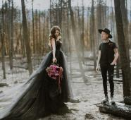Black wedding dress on French Knot by Offbeat Bride