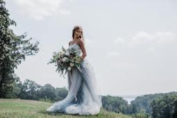 Blue wedding dress by French Knot on Offbeat Bride