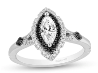 Enchanted Disney Villains Maleficent Enhanced Black and White Diamond Engagement Ring in 14K White Gold on offbeat bride