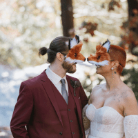 Rustic fall meets spooky in this COVID-safe Halloween wedding