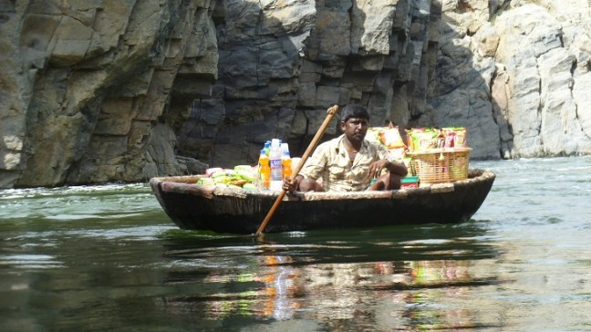 Coracle shop on Hogenakkal falls Tamilnadu