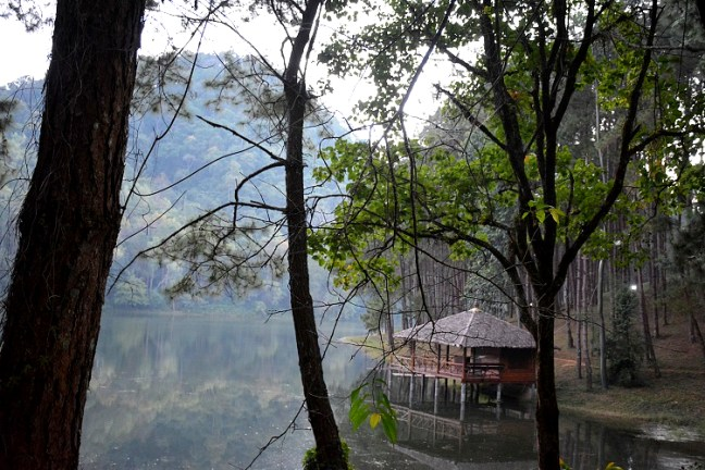 "Pang Ung (ปางอุ๋ง) - ""Pang Oong"" or ""Ban Ruam Thai"", is the best offbeat Mae Hong Son (แม่ฮ่องสอน) attraction. A Shan Minority Village near Ban Rak Thai, Pang Ung lake offers tranquil misty mornings, bamboo rafting, over-night camping -tenting and Star-gazing - Motorbike backpacking trip across Mae Hong Son Loop, Thailand"
