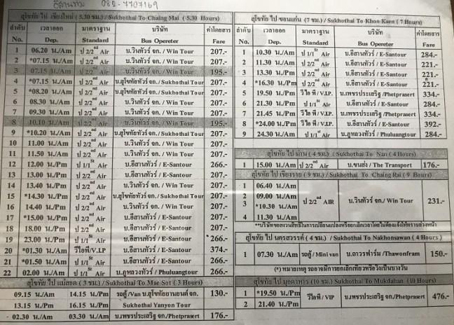 Thailand Bus Booking Schedule: Sukho Thai to Chiang Mai/Chiang Rai/Mae Sot/Nan/Nakhonsawan/Mukdahan