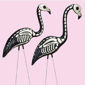 Okay, FINE. I'm sure these skeletal flamingos are meant to be a halloween thing, but do we really have to limit creepy/kitschy to the month of October? Can't we gently spook the neighbors year-round?