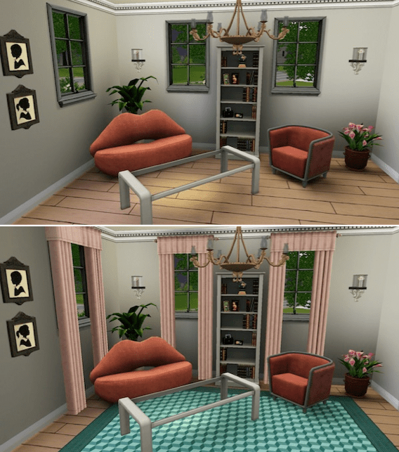 Before and after the curtains and rugs were added.
