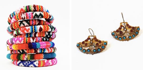 Peruvian friendship bracelets and Byzantine Fan Earrings, handmade in Istanbul, Turkey.