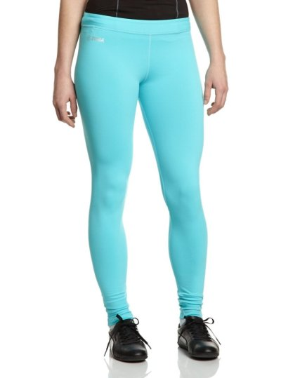 These leggings come in blue, purple, or black.  Their nylon/spandex blend will keep you comfy.