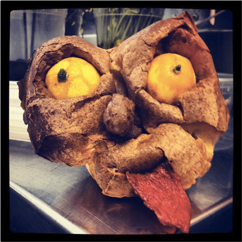 Be careful about how you talk about food, or the Yorkshire Pudding Troll will get you. Photo and terrifying food creation by Chef Tristan.