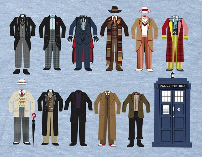 Illustration from the Ripple Junction's Doctor Who Doctor Outfits T-shirt