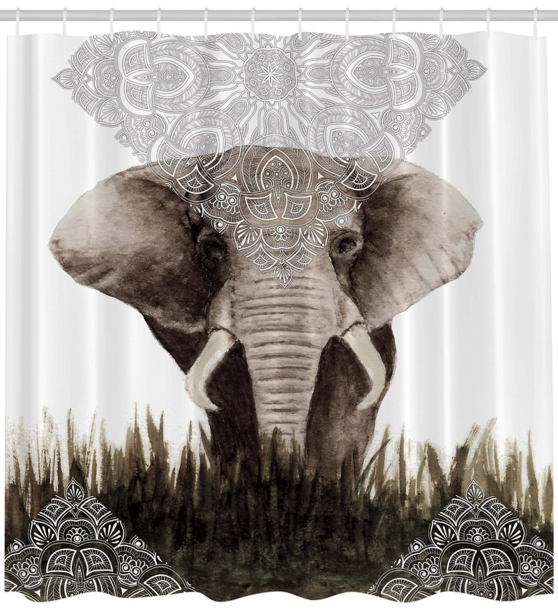 Elephant Henna Tattoo shower curtain