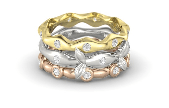 Organic Stacking Ring Set with rose, yellow, and white gold and white sapphires -- $1,090