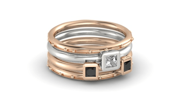 Princess Stacking Ring Set in rose gold and silver, with rock crystal and black diamonds -- $1,280