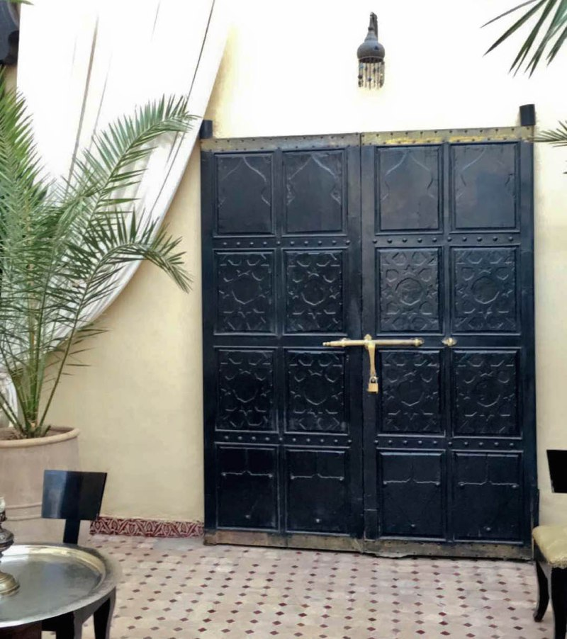 black wooden door morocco