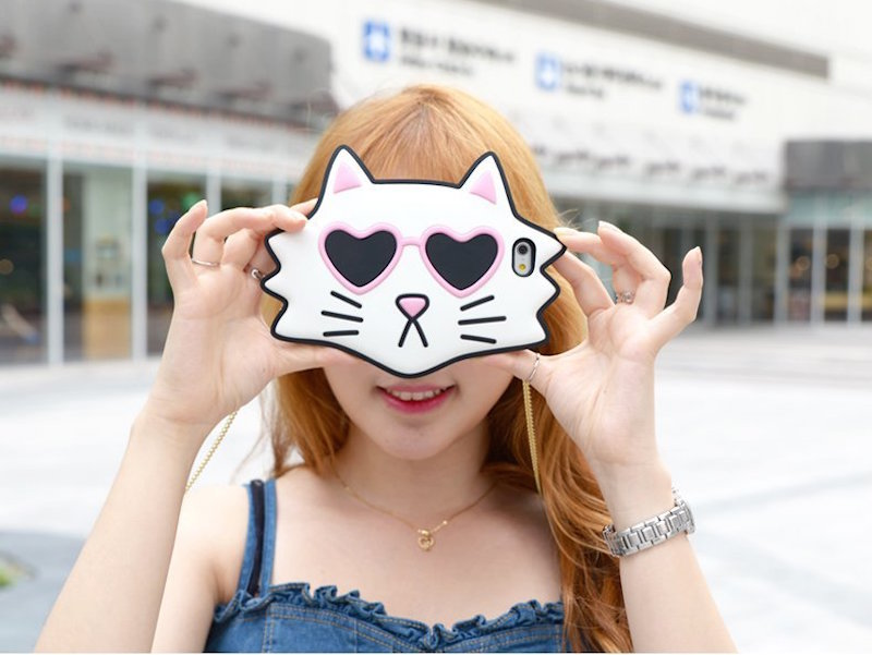 Sunglasses Cat Case with crossbody chain for iPhone 6/6s