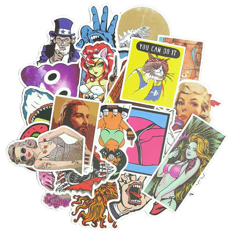 Where can I find more subversive and offbeat stickers for scrapbooking?