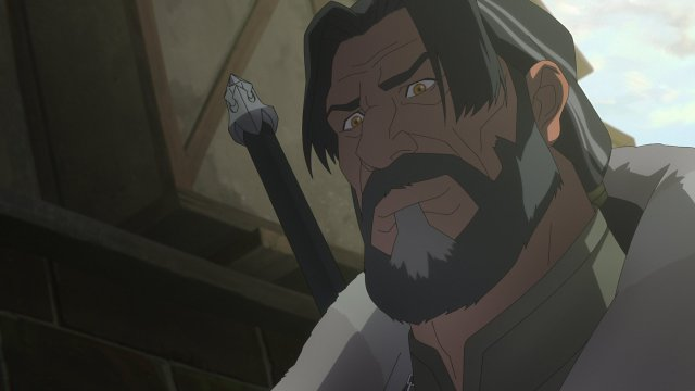 Image of Vesemir in the new animated Witcher Netflix show