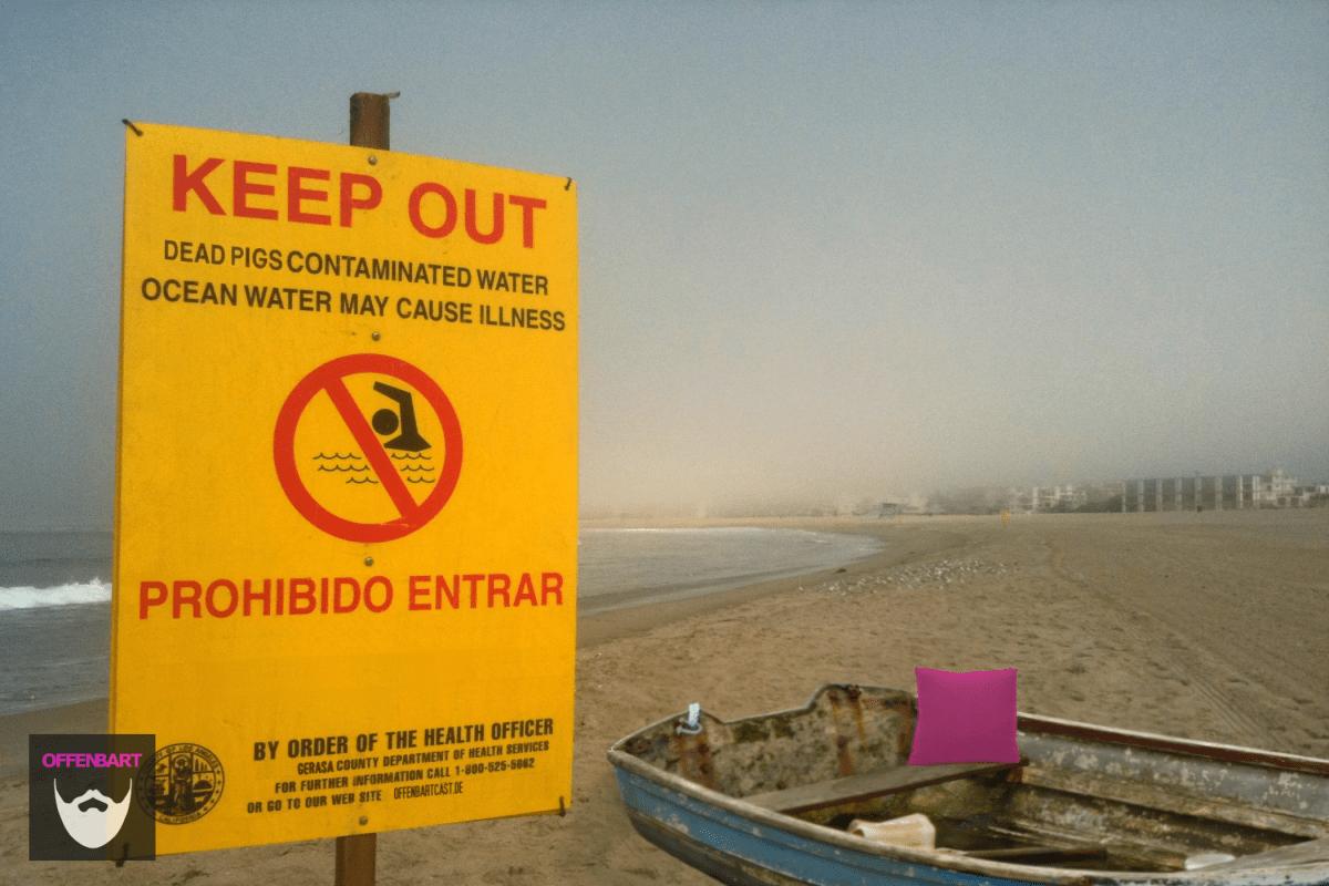 Bildnachweis:Sewage Contaminated Water by Michael Dorausch CC-BY-SA 2.0, Boat by Tim Green CC-BY 2.0 und Pillow blue small 2 by liz68022 CC-BY 2.0 montiert und bearbeitet von Simon Mallow.