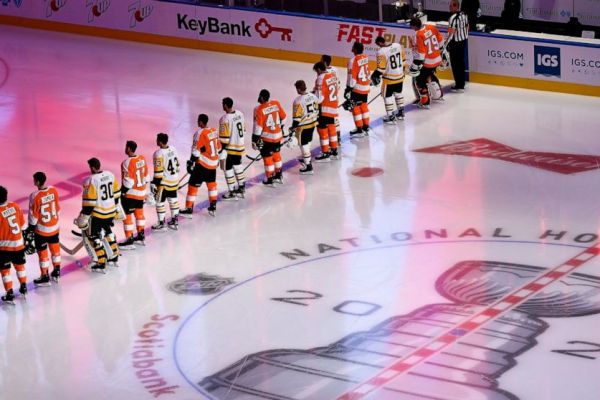 Pittsburgh and Philadelphia NHL Teams Stand Against Racial Injustice Before Exhibition Game
