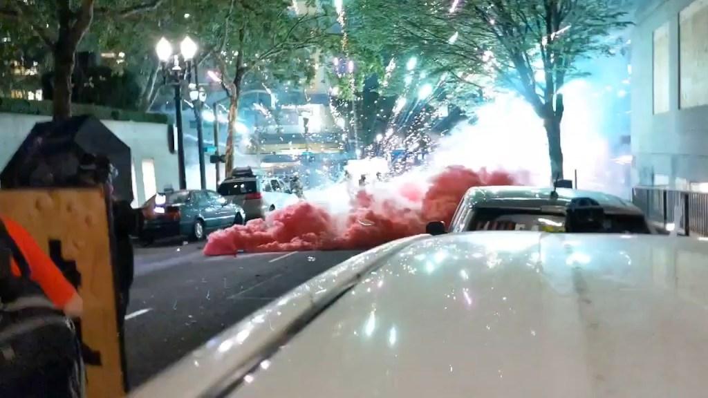 Portland Thugs Throw Smoke and Fireworks