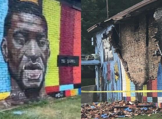 George Floyd Mural Was Destroyed By Lightning Strike 2
