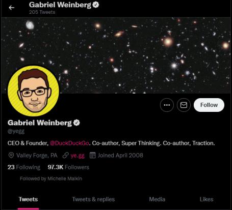 Gabreil Weinberg, CEO of DuckDuckGo