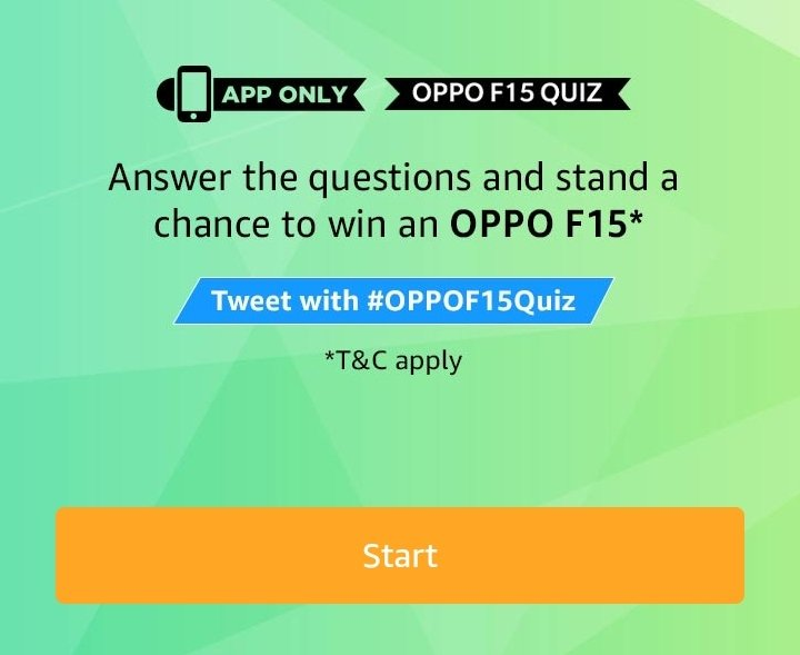 Amazon Oppo F15 Quiz Answers Play Win Oppo F15 Smartphone Offer Of World