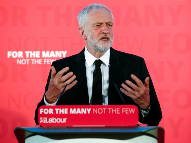 Jeremy Corbyn, the leader of Britain's opposition Labour Party delivers a speech in Carlisle