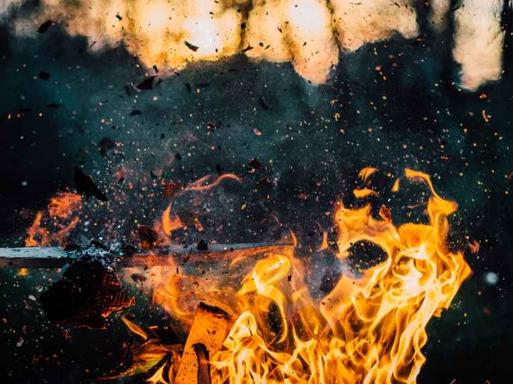 wood explosion fire hot