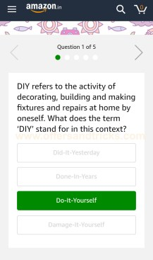 Amazon Quiz Time App Only Contest Win Diy Kits Worth Rs 1 Lakh