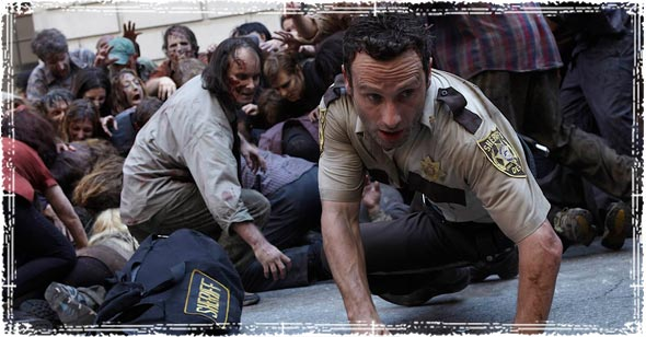 Rick Grimes Running from Zombies