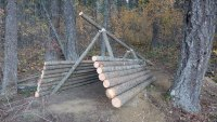 Survival shelter log siding