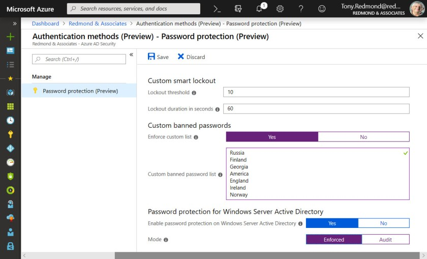 Azure Active Directory Feature Bans Custom Words from User Passwords